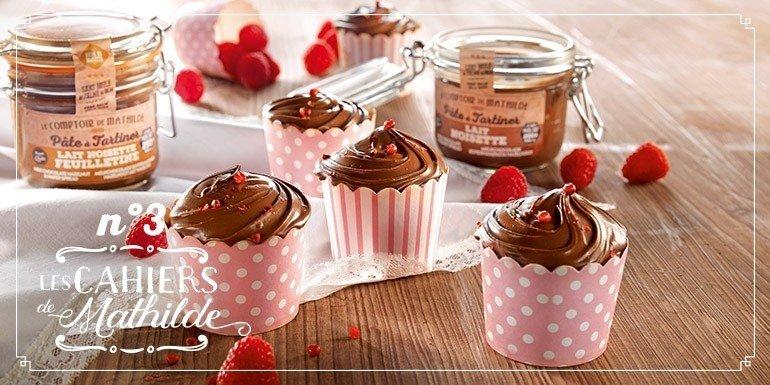 Cupcake pâte à tartiner coeur de framboise