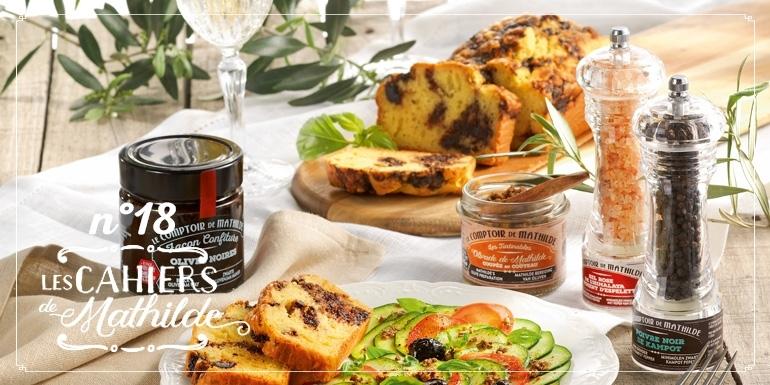 Recette : Cake marbré confiture d'olives noires carpaccio de courgettes